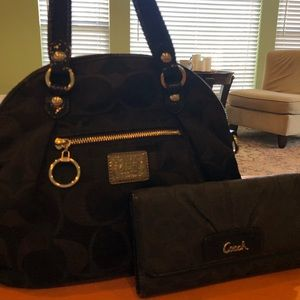 Black Coach Purse with Matching Wallet